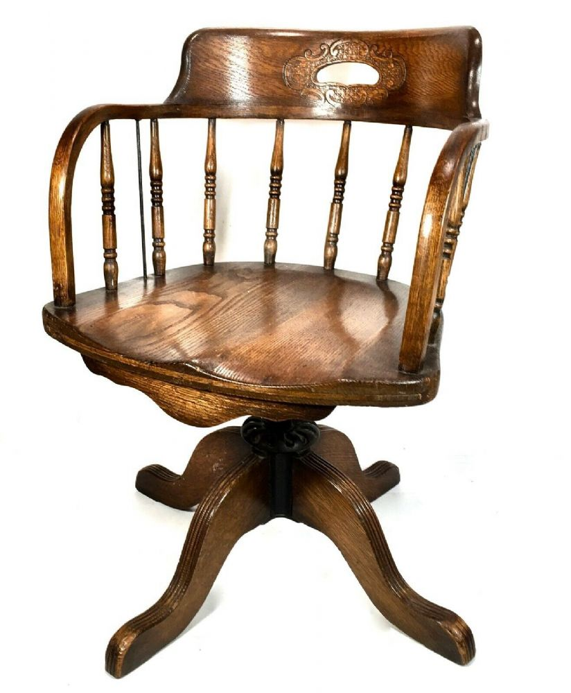 Antique Oak Revolving Wooden Carved Desk Chair / Victorian  / C.1890 / Seat
